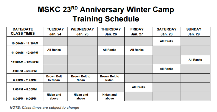 kobayashi camp training schedule