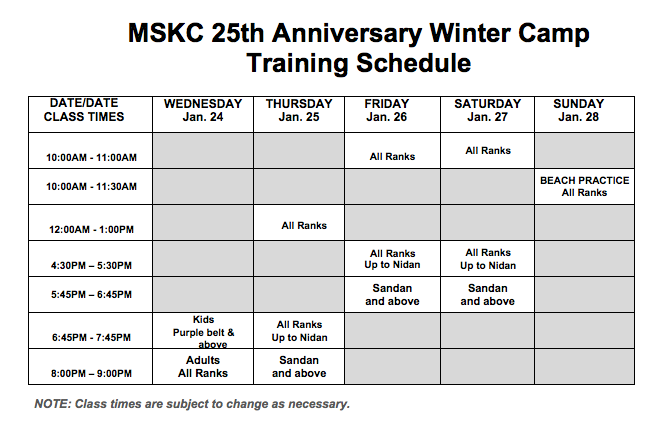 25th Anniversary Winter Camp